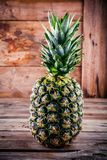 Fresh ripe pineapple on wooden background. Fresh ripe pineapple on wooden rustic background Stock Images