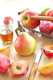 Fresh ripe plums, apples and pear Stock Photo
