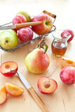 Fresh ripe plums, apples and pears Stock Photography