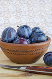Fresh ripe plums. In a bowl Royalty Free Stock Photos