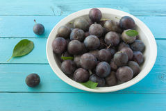 Fresh ripe plums in bowl on blue wood Royalty Free Stock Photography