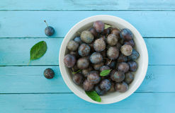 Fresh ripe plums in bowl on blue wood Royalty Free Stock Images