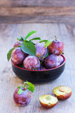 Fresh ripe plums on old wooden boards close up Royalty Free Stock Photo