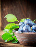 Fresh ripe plums in pottery handmade Stock Photos
