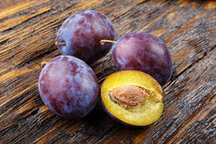 Fresh ripe plums top view Stock Photography