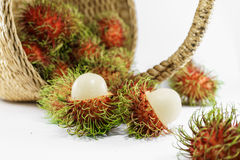 Fresh ripe rambutan in basket. Thai fruit Stock Photography
