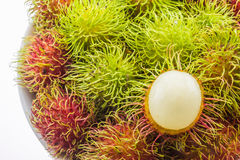 Fresh and ripe rambutans. Delicious fruits for asian Stock Image