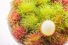 Fresh and ripe rambutans Royalty Free Stock Images