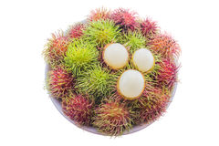 Fresh and ripe rambutans Royalty Free Stock Photo