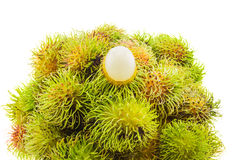 Fresh and ripe rambutans. Delicious fruits for asian,  on white background Royalty Free Stock Photos