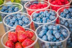 Fresh ripe raspberries and blueberries. Fresh blueberries, currants, blackberries, cranberries and raspberries. Focus berries in spoon Royalty Free Stock Image
