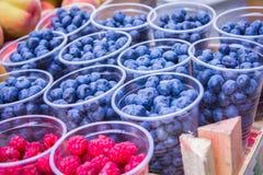 Fresh ripe raspberries and blueberries. Fresh blueberries, currants, blackberries, cranberries and raspberries. Focus berries in spoon Stock Photos