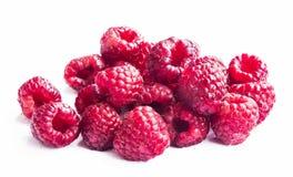 Fresh Ripe Raspberries Isolated on White Stock Photography