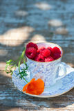 Fresh ripe raspberries and an old porcelain cup with a saucer on a wooden table in the garden. Royalty Free Stock Photography
