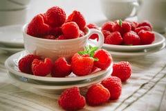 Fresh ripe raspberries. Fresh ripe red raspberries on white plates Stock Images