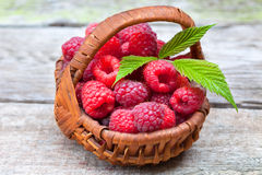 Fresh ripe raspberries. In small wicker basket Stock Images