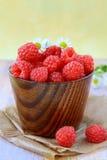 Fresh ripe raspberries still life Royalty Free Stock Images