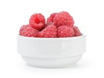 Fresh ripe raspberries in white bowl Royalty Free Stock Photo