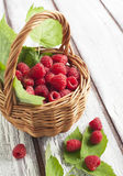 Fresh ripe raspberry in basket. Selective focus Royalty Free Stock Photos