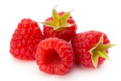 Ripe raspberry with leaf isolated on the white background. Fresh ripe raspberry with leaf isolated on the white background Stock Photos