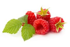 Fresh ripe raspberry with leaf isolated on the white background. Ripe raspberry with leaf isolated on the white background Royalty Free Stock Photos