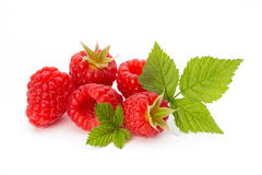 Ripe raspberry with leaf isolated on the white background. Fresh ripe raspberry with leaf isolated on the white background Stock Photo