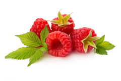 Ripe raspberry with leaf isolated on the white background. Fresh ripe raspberry with leaf isolated on the white background Royalty Free Stock Image
