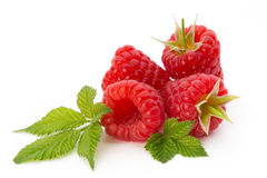 Ripe raspberry with leaf  on the white background. Fresh ripe raspberry with leaf  on the white background Stock Image