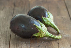 Fresh Ripe Raw eggplants. On the wood background Stock Images
