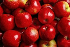 Fresh ripe red apples. As background stock images
