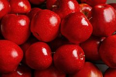 Fresh ripe red apples. As background stock photos