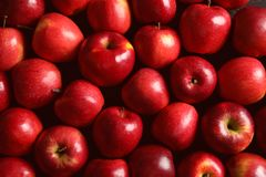 Fresh ripe red apples. As background stock photography