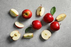 Fresh ripe red apples. On light grey background royalty free stock photo