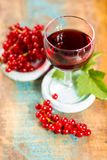 Fresh ripe red currant berries and liqueur on the table. Healthy food royalty free stock photography