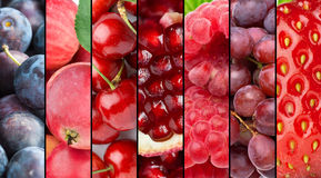 Fresh ripe red fruits background Royalty Free Stock Images