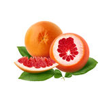 Fresh ripe red grapefruit with green leaves. Red sliced citrus isolated. Stock Photos