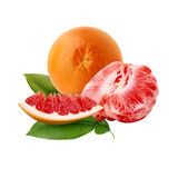 Fresh ripe red grapefruit with green leaves. Red sliced citrus isolated. Royalty Free Stock Image