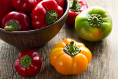 Fresh ripe red, green and yellow paprika peppers Royalty Free Stock Images
