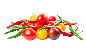 Fresh ripe red, yellow, black cherry tomatoes Royalty Free Stock Images