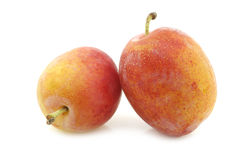 Fresh ripe red and yellow plums Royalty Free Stock Photo