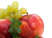 Fresh ripe strawberries, apple and grapes Royalty Free Stock Photography