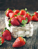 Fresh ripe strawberries in basket Stock Photo