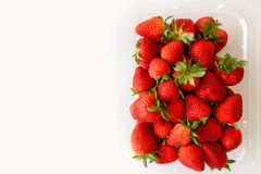 Fresh Ripe Strawberries in Box, Close Up, Top View stock photo
