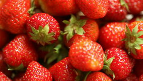 Fresh ripe strawberries fruits as food background. stock video footage