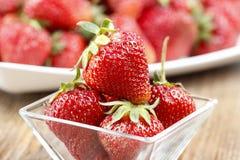 Fresh ripe strawberries in glass bowl Royalty Free Stock Photo