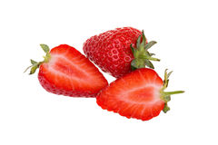 Fresh ripe strawberries isolated on white background Stock Photo