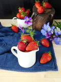 Fresh ripe strawberries in a jug Royalty Free Stock Images