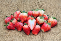 Fresh ripe strawberries and slice Royalty Free Stock Photography