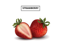 Fresh and ripe strawberries. Tasty fruit in 3d illustration isolated on white background Stock Image