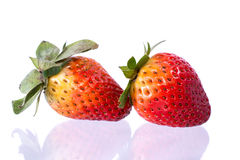 Fresh ripe strawberries. On White royalty free stock image